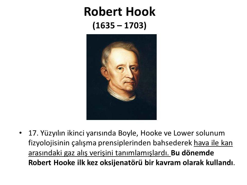 Robert Hook (1635 – 1703) 17. Yüzyılın ikinci yarısında Boyle, Hooke ve Lower solunum fizyolojisinin çalışma prensiplerinden bahsederek hava ile kan a
