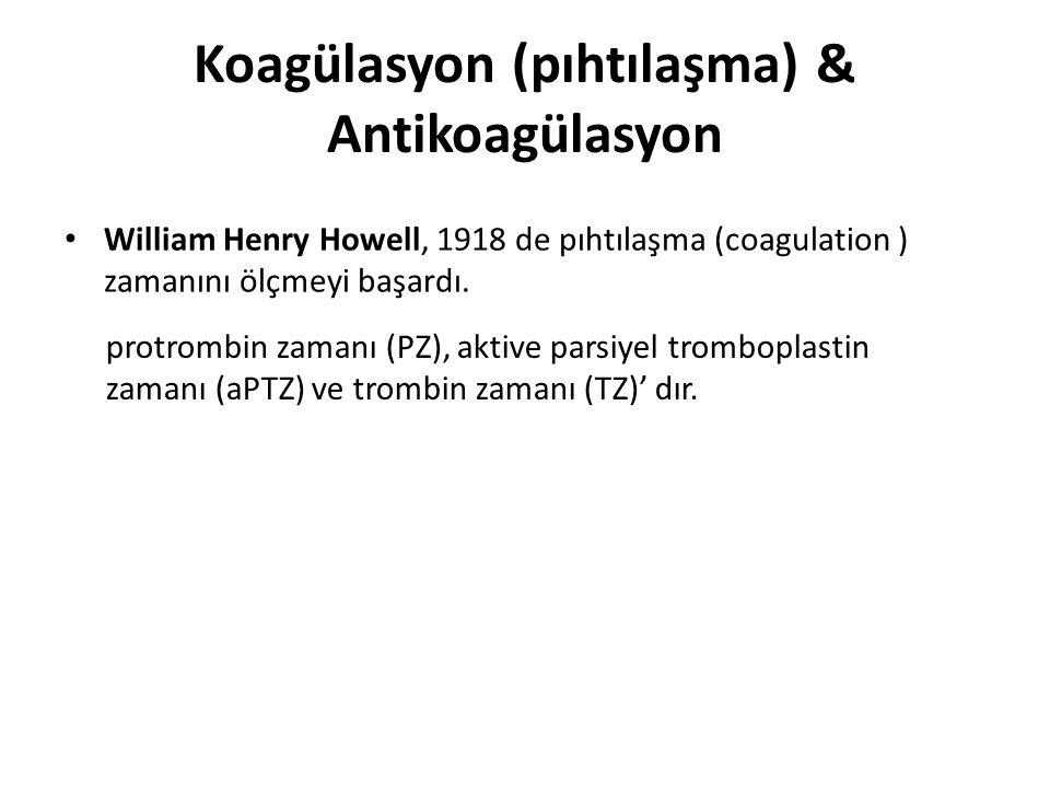 Koagülasyon (pıhtılaşma) & Antikoagülasyon William Henry Howell, 1918 de pıhtılaşma (coagulation ) zamanını ölçmeyi başardı. protrombin zamanı (PZ), a