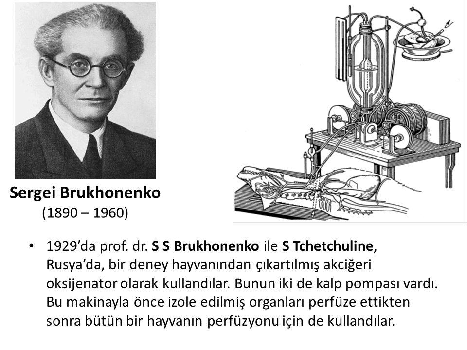 1929'da prof. dr. S S Brukhonenko ile S Tchetchuline, Rusya'da, bir deney hayvanından çıkartılmış akciğeri oksijenator olarak kullandılar. Bunun iki d