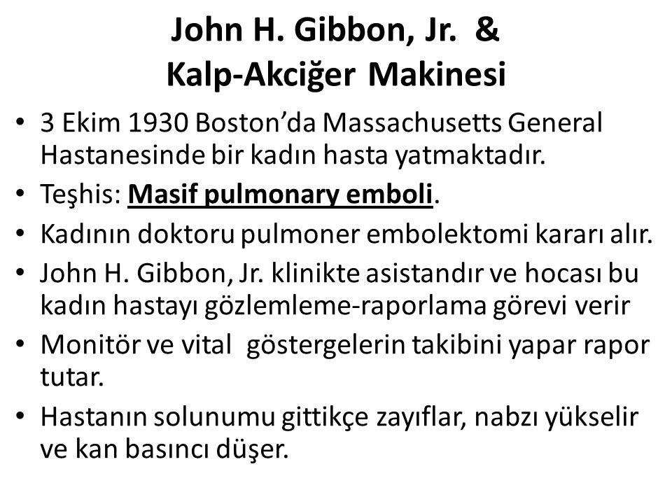 John H. Gibbon, Jr. & Kalp-Akciğer Makinesi 3 Ekim 1930 Boston'da Massachusetts General Hastanesinde bir kadın hasta yatmaktadır. Teşhis: Masif pulmon