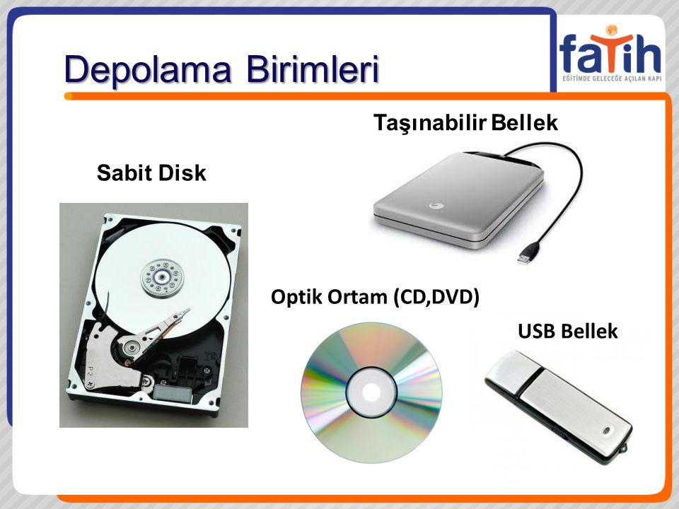 Depolama Birimleri Sabit Disk Optik Ortam (CD,DVD) USB Bellek Taşınabilir Bellek