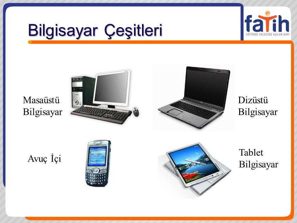 Bilgisayar Çeşitleri Masaüstü Bilgisayar Avuç İçi Dizüstü Bilgisayar Tablet Bilgisayar