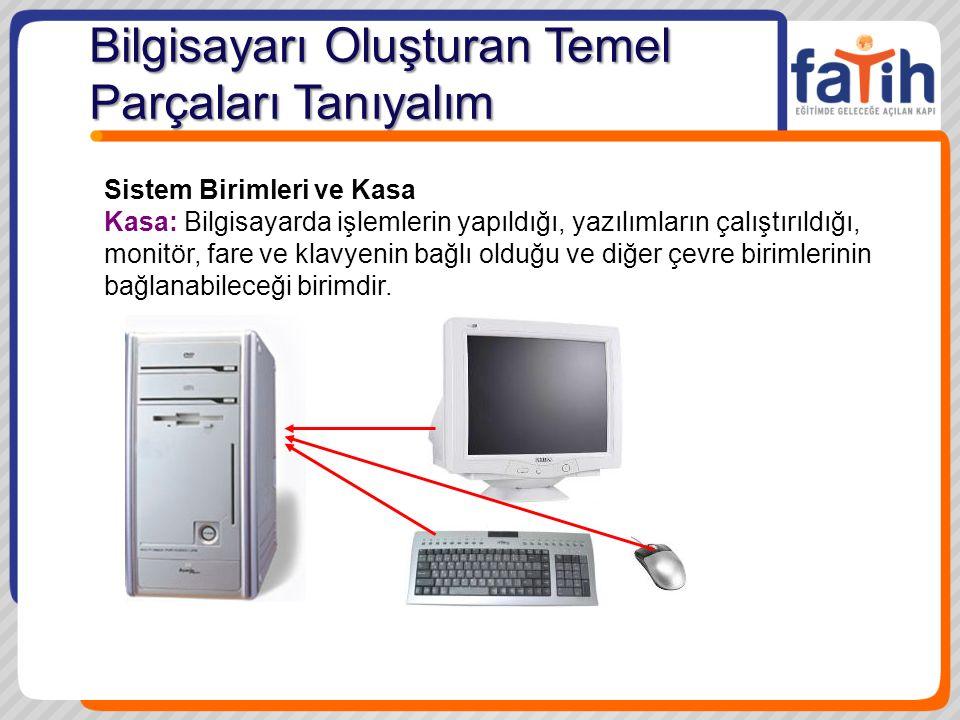 Sistem Birimleri ve Kasa Kasa: Bilgisayarda işlemlerin yapıldığı, yazılımların çalıştırıldığı, monitör, fare ve klavyenin bağlı olduğu ve diğer çevre