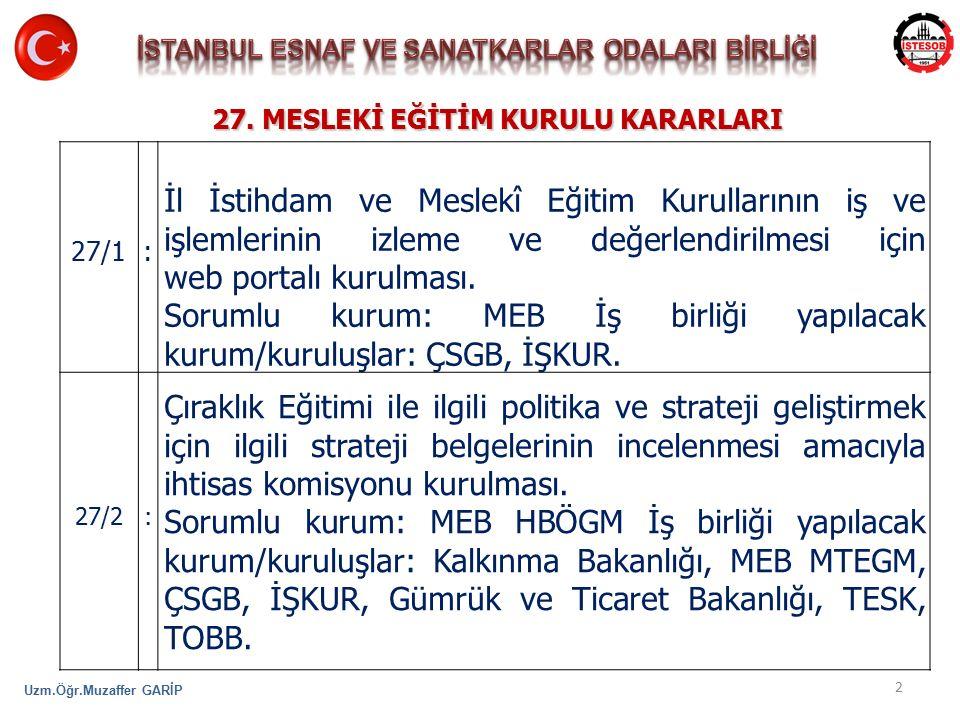 Uzm.Öğr.Muzaffer GARİP 3 27/3: 3308 sayılı Meslekî Eğitim Kanunu çıraklık eğitimi uygulamaları kapsamı dışındaki mesleklerde eğitim ve belgelendirmeye yönelik mevzuat ve uygulamalar ile Meslekî Eğitim Merkezlerinden mezun olan öğrencilerin ustalık belgesi ile birlikte Meslekî Yeterlilik Belgesi almasının da sağlanmasına ilişkin ihtisas komisyonunun kurulması ve Türkiye Yeterlilikler Çerçevesi Yönetmeliğinin yürürlüğe girmesinden sonra çıkarılacak eğitim akreditasyon yönetmeliğine ilişkin görüş oluşturulması.