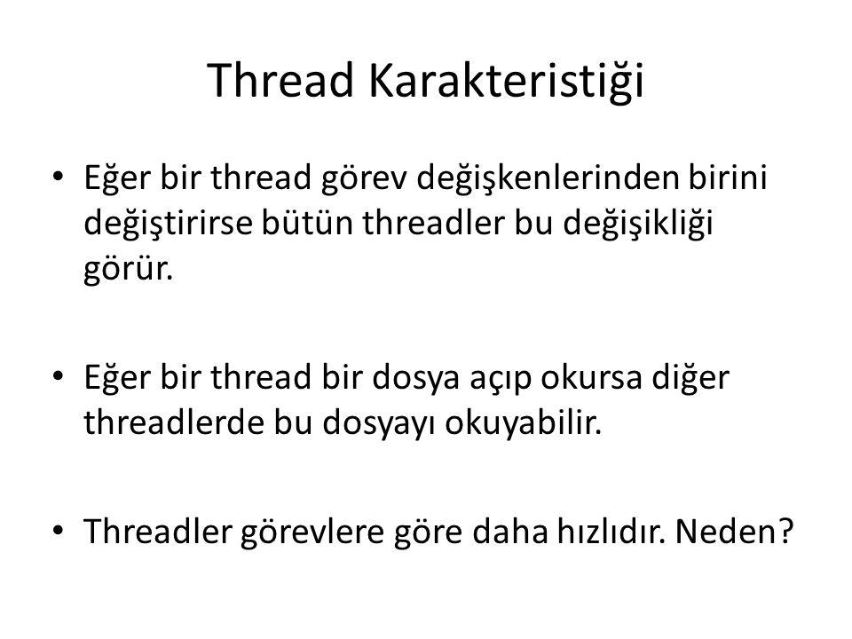 Thread Karakteristiği Eğer bir thread görev değişkenlerinden birini değiştirirse bütün threadler bu değişikliği görür. Eğer bir thread bir dosya açıp