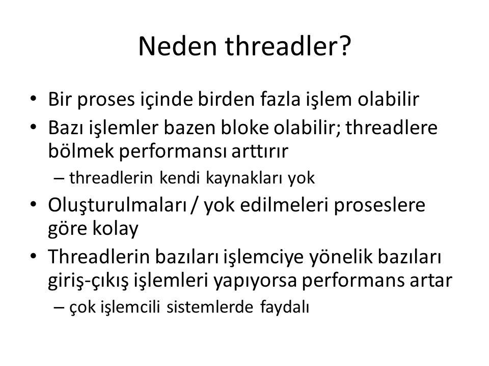 Neden threadler? Bir proses içinde birden fazla işlem olabilir Bazı işlemler bazen bloke olabilir; threadlere bölmek performansı arttırır – threadleri