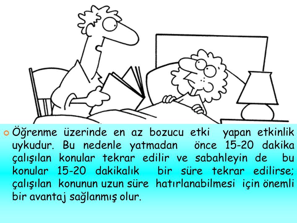 Dersin işlendiği gün tekrar edilmesi unutma düzeyini azaltır. Dersleri her gün aynı saate yerleştirin. Dersin işlendiği gün tekrar edilmesi unutma düz