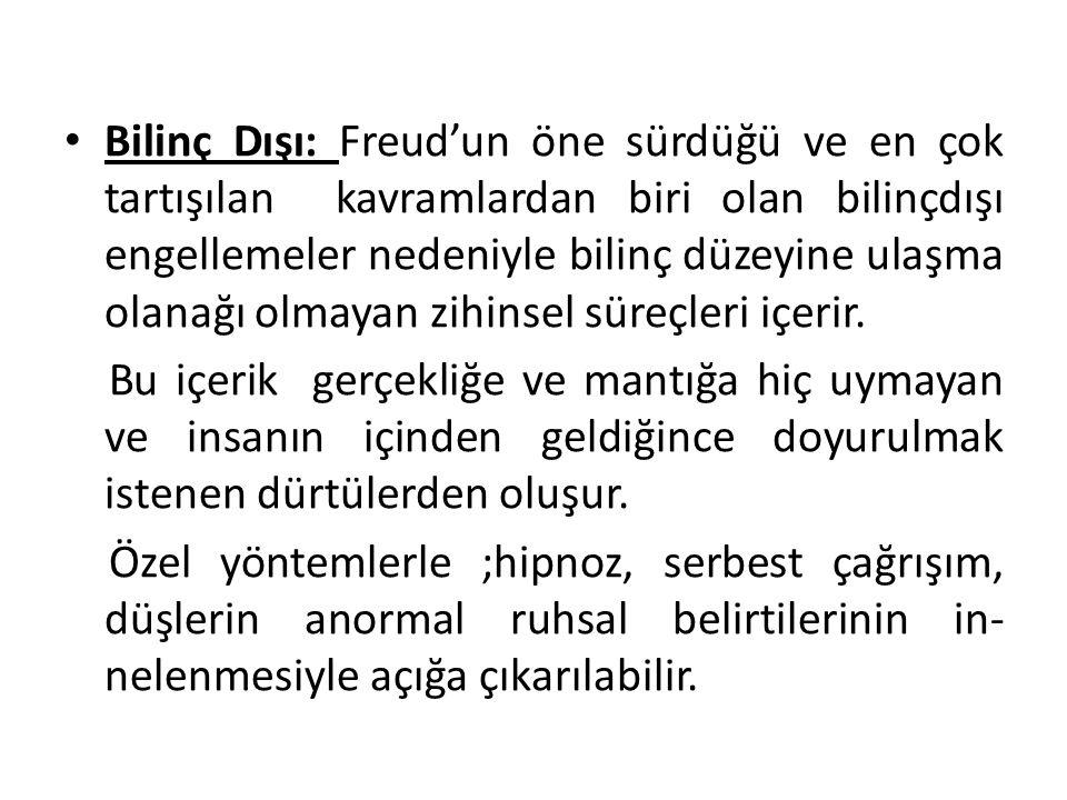 Bilinç Dışı: Freud'un öne sürdüğü ve en çok tartışılan kavramlardan biri olan bilinçdışı engellemeler nedeniyle bilinç düzeyine ulaşma olanağı olmayan