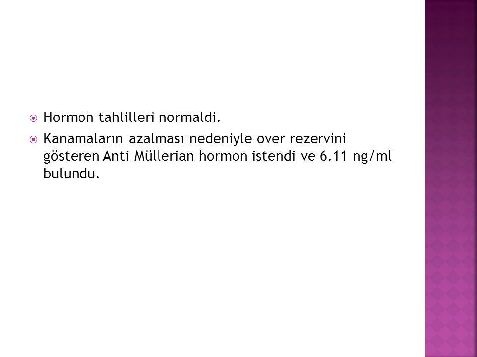 Hormon tahlilleri normaldi.  Kanamaların azalması nedeniyle over rezervini gösteren Anti Müllerian hormon istendi ve 6.11 ng/ml bulundu.