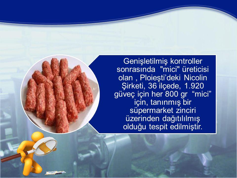Genişletilmiş kontroller sonrasında mici üreticisi olan, Ploieşti'deki Nicolin Şirketi, 36 ilçede, 1.920 güveç için her 800 gr mici için, tanınmış bir süpermarket zinciri üzerinden dağıtılılmış olduğu tespit edilmiştir.