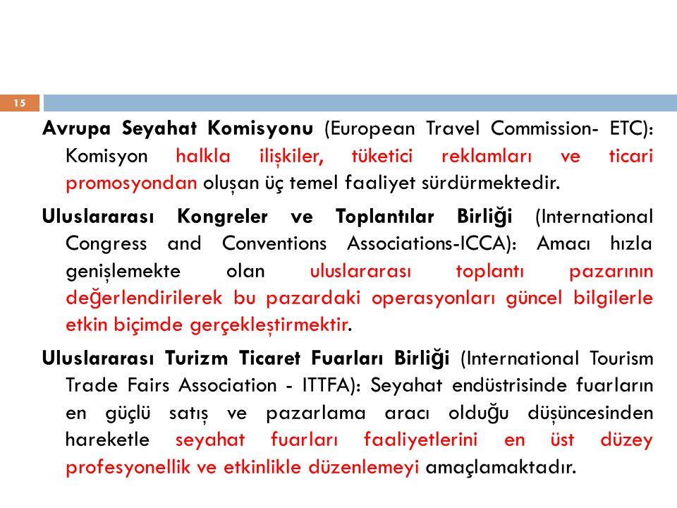 Avrupa Seyahat Komisyonu (European Travel Commission- ETC): Komisyon halkla ilişkiler, tüketici reklamları ve ticari promosyondan oluşan üç temel faal