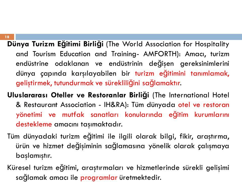 Dünya Turizm E ğ itimi Birli ğ i (The World Association for Hospitality and Tourism Education and Training- AMFORTH): Amacı, turizm endüstrine odaklan
