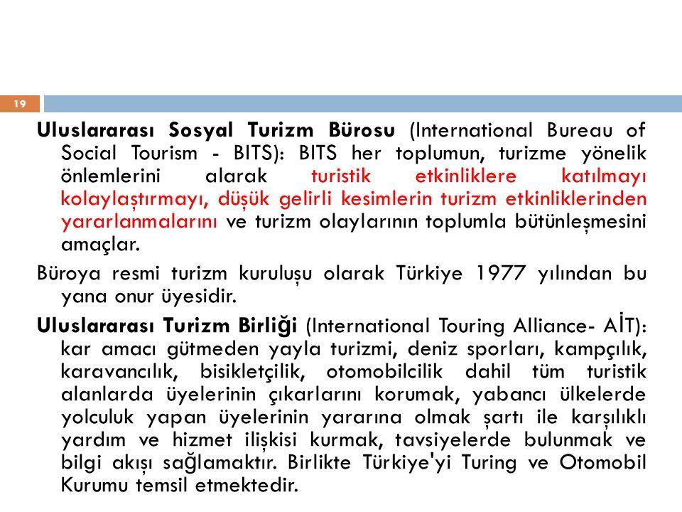 Uluslararası Sosyal Turizm Bürosu (International Bureau of Social Tourism - BITS): BITS her toplumun, turizme yönelik önlemlerini alarak turistik etki