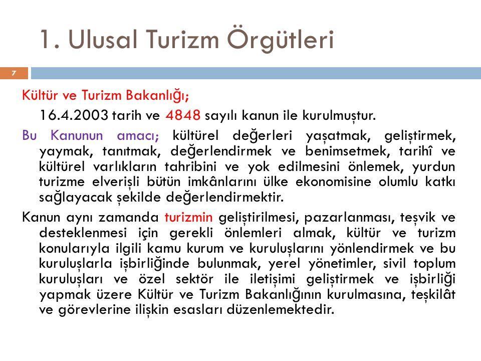 1. Ulusal Turizm Örgütleri Kültür ve Turizm Bakanlı ğ ı; 16.4.2003 tarih ve 4848 sayılı kanun ile kurulmuştur. Bu Kanunun amacı; kültürel de ğ erleri