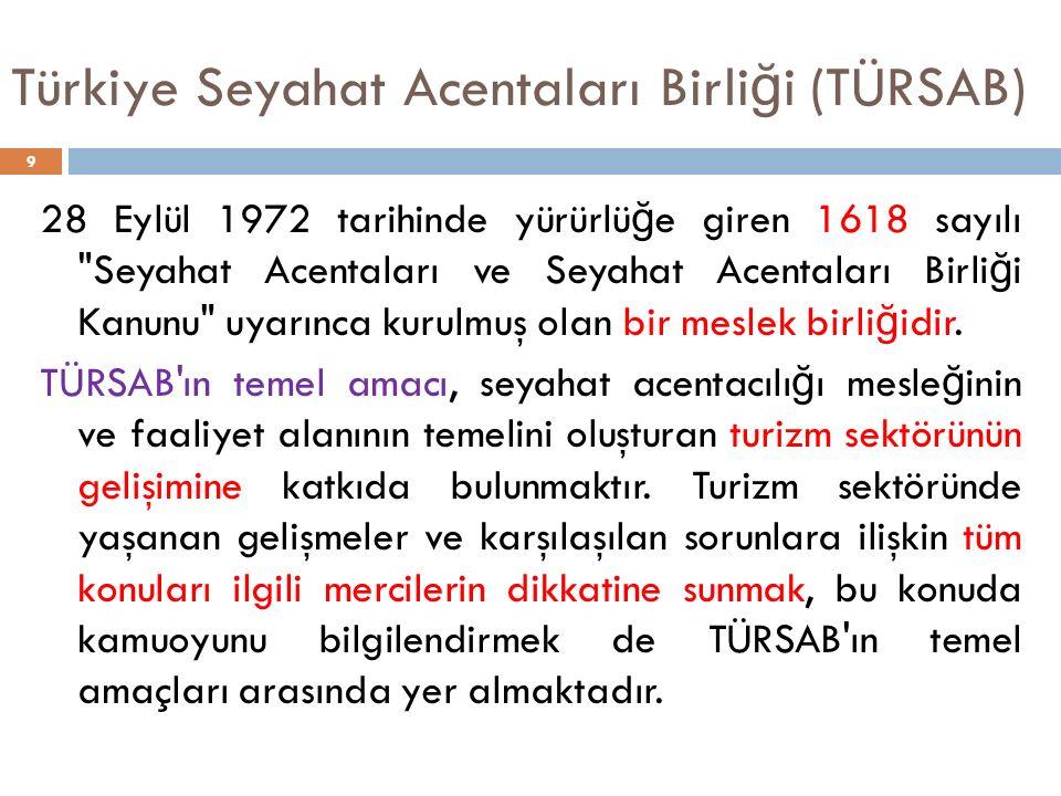 Türkiye Seyahat Acentaları Birli ğ i (TÜRSAB) 28 Eylül 1972 tarihinde yürürlü ğ e giren 1618 sayılı