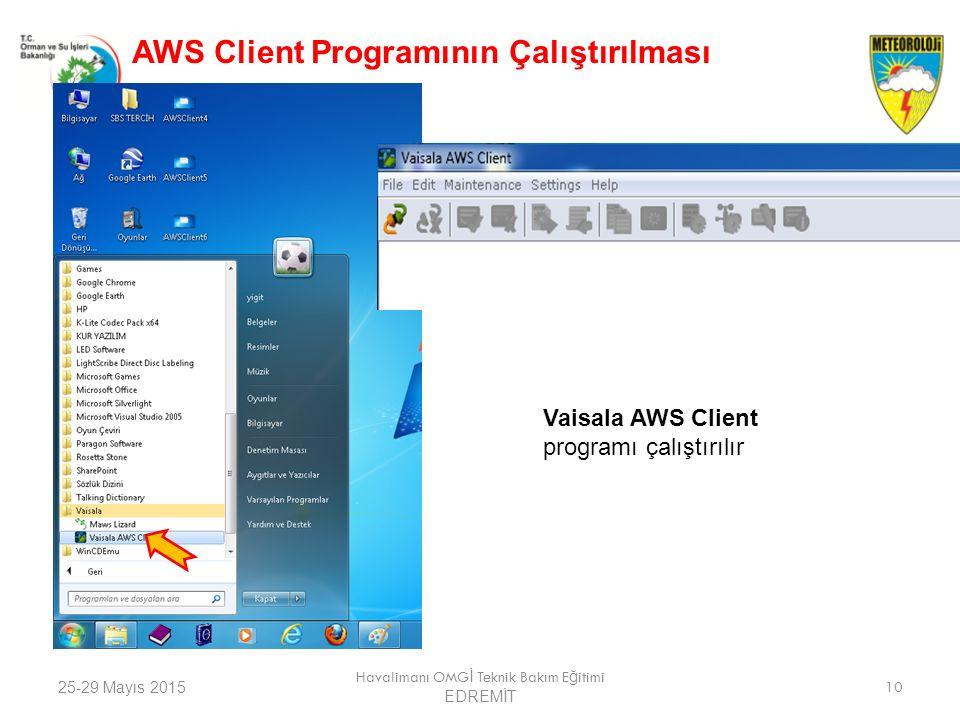 25-29 Mayıs 2015 Havalimanı OMG İ Teknik Bakım E ğ itimi EDREMİT 10 AWS Client Programının Çalıştırılması Vaisala AWS Client programı çalıştırılır