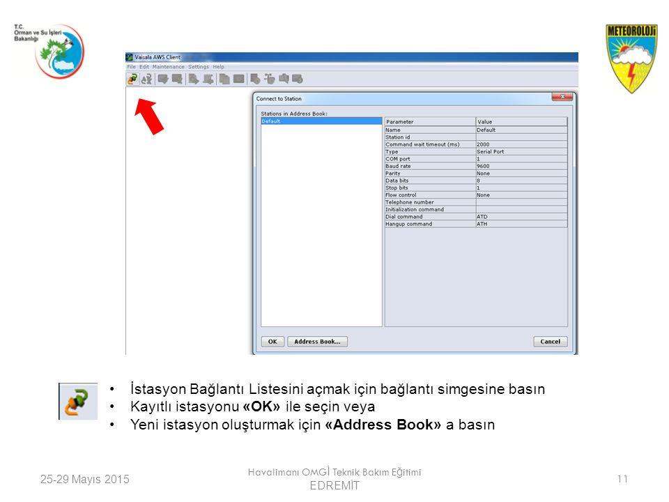 25-29 Mayıs 2015 Havalimanı OMG İ Teknik Bakım E ğ itimi EDREMİT 11 İstasyon Bağlantı Listesini açmak için bağlantı simgesine basın Kayıtlı istasyonu