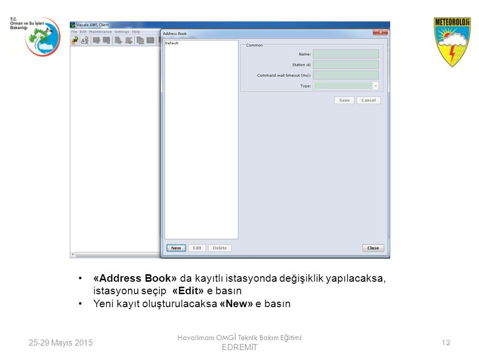 25-29 Mayıs 2015 Havalimanı OMG İ Teknik Bakım E ğ itimi EDREMİT 12 «Address Book» da kayıtlı istasyonda değişiklik yapılacaksa, istasyonu seçip «Edit