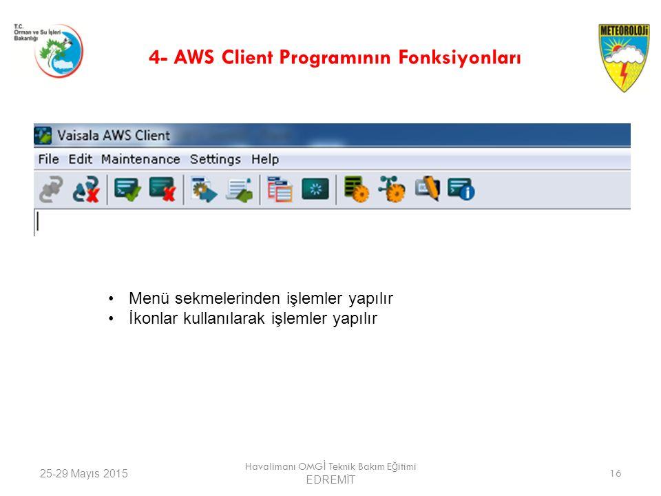 25-29 Mayıs 2015 Havalimanı OMG İ Teknik Bakım E ğ itimi EDREMİT 16 4- AWS Client Programının Fonksiyonları Menü sekmelerinden işlemler yapılır İkonla