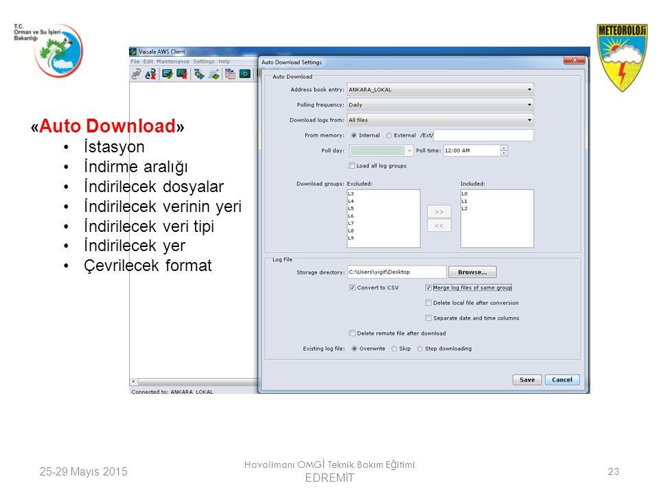 25-29 Mayıs 2015 Havalimanı OMG İ Teknik Bakım E ğ itimi EDREMİT 23 « Auto Download » İstasyon İndirme aralığı İndirilecek dosyalar İndirilecek verini