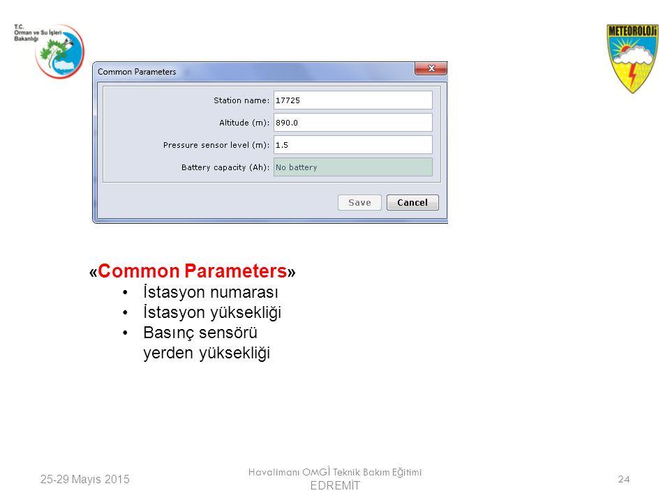 25-29 Mayıs 2015 Havalimanı OMG İ Teknik Bakım E ğ itimi EDREMİT 24 « Common Parameters » İstasyon numarası İstasyon yüksekliği Basınç sensörü yerden