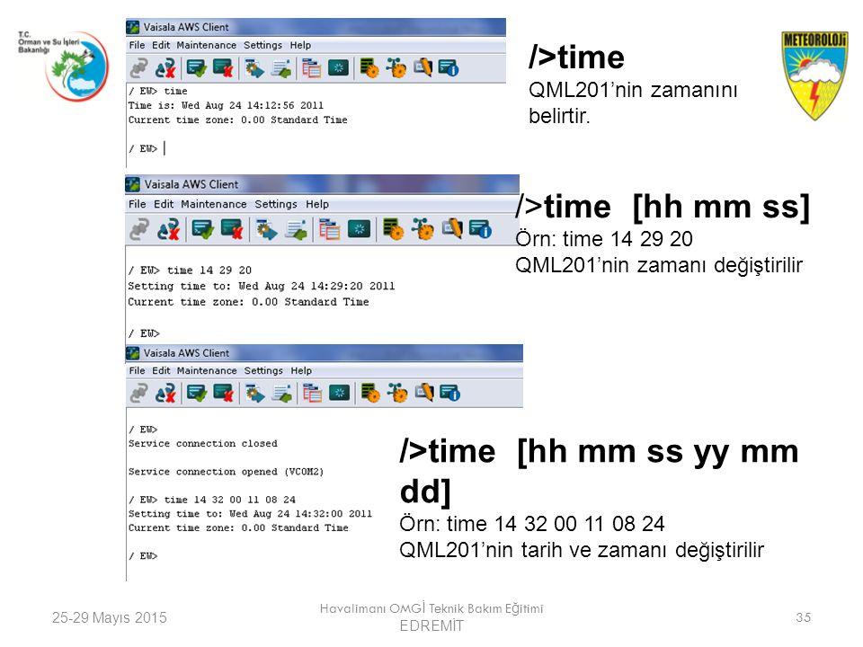 25-29 Mayıs 2015 Havalimanı OMG İ Teknik Bakım E ğ itimi EDREMİT 35 />time QML201'nin zamanını belirtir. />time [hh mm ss] Örn: time 14 29 20 QML201'n