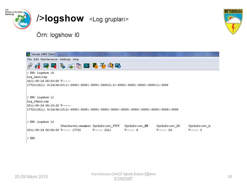 25-29 Mayıs 2015 Havalimanı OMG İ Teknik Bakım E ğ itimi EDREMİT 39 />logshow Örn: logshow l0