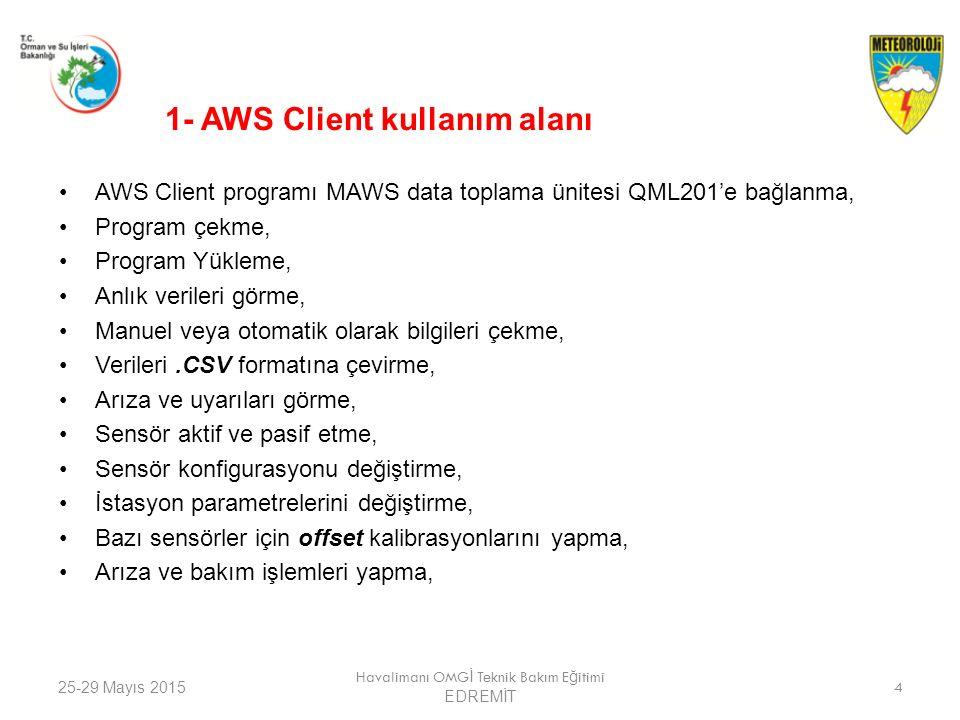25-29 Mayıs 2015 Havalimanı OMG İ Teknik Bakım E ğ itimi EDREMİT 4 1- AWS Client kullanım alanı AWS Client programı MAWS data toplama ünitesi QML201'e