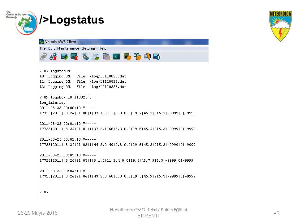 25-29 Mayıs 2015 Havalimanı OMG İ Teknik Bakım E ğ itimi EDREMİT 40 />Logstatus