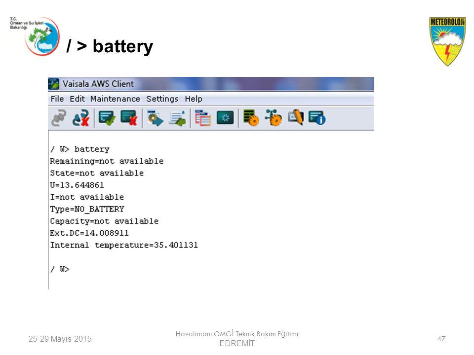 25-29 Mayıs 2015 Havalimanı OMG İ Teknik Bakım E ğ itimi EDREMİT 47 / > battery