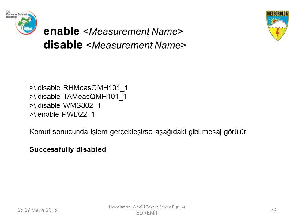25-29 Mayıs 2015 Havalimanı OMG İ Teknik Bakım E ğ itimi EDREMİT 49 enable disable >\ disable RHMeasQMH101_1 >\ disable TAMeasQMH101_1 >\ disable WMS3
