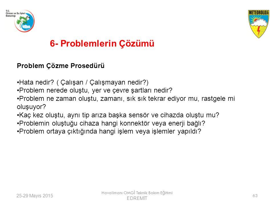 25-29 Mayıs 2015 Havalimanı OMG İ Teknik Bakım E ğ itimi EDREMİT 63 Problem Çözme Prosedürü Hata nedir? ( Çalışan / Çalışmayan nedir?) Problem nerede