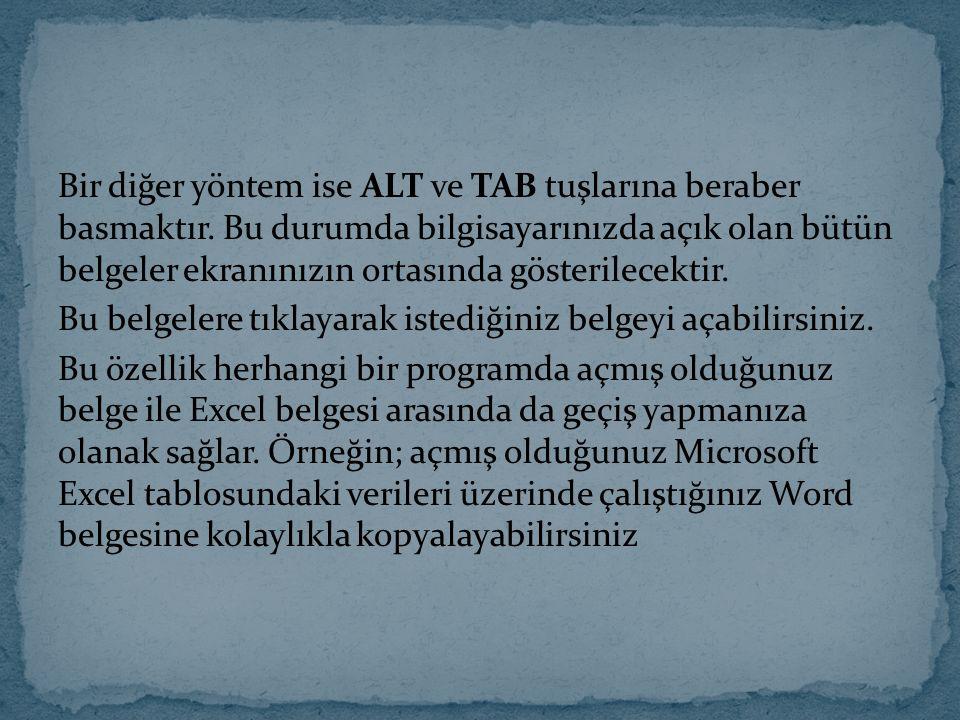 Bir diğer yöntem ise ALT ve TAB tuşlarına beraber basmaktır. Bu durumda bilgisayarınızda açık olan bütün belgeler ekranınızın ortasında gösterilecekti