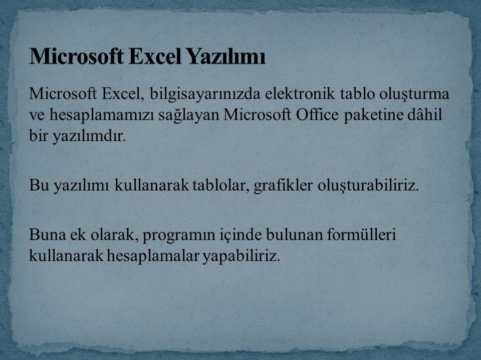 Microsoft Excel, bilgisayarınızda elektronik tablo oluşturma ve hesaplamamızı sağlayan Microsoft Office paketine dâhil bir yazılımdır. Bu yazılımı kul