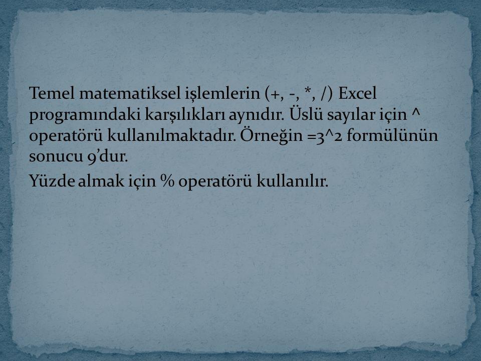 Temel matematiksel işlemlerin (+, -, *, /) Excel programındaki karşılıkları aynıdır. Üslü sayılar için ^ operatörü kullanılmaktadır. Örneğin =3^2 form