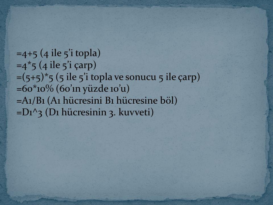 =4+5 (4 ile 5'i topla) =4*5 (4 ile 5'i çarp) =(5+5)*5 (5 ile 5'i topla ve sonucu 5 ile çarp) =60*10% (60'ın yüzde 10'u) =A1/B1 (A1 hücresini B1 hücres