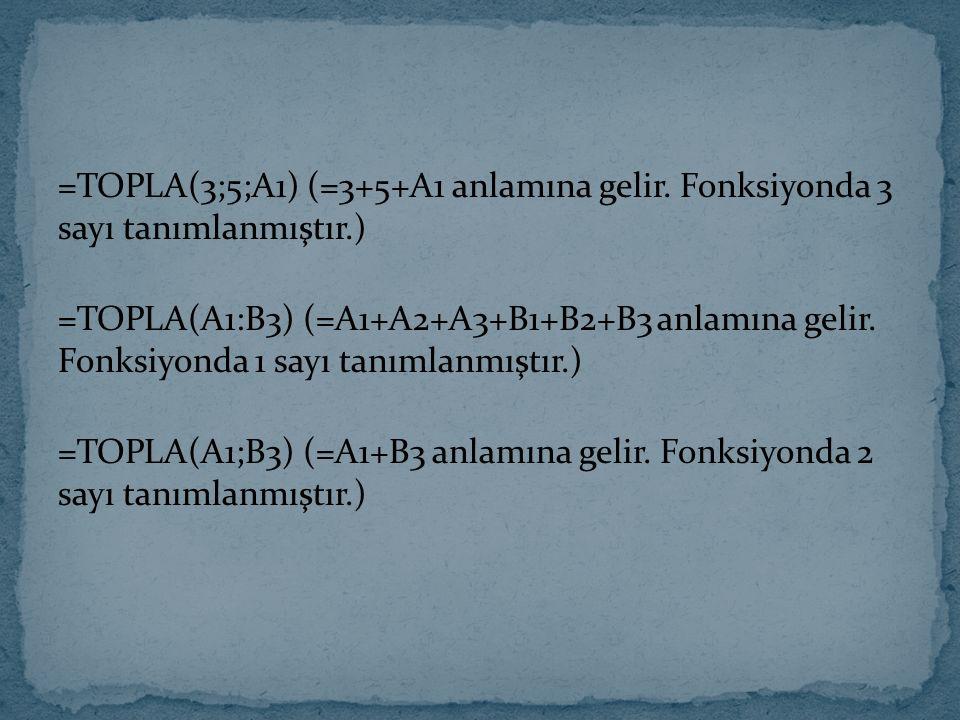 =TOPLA(3;5;A1) (=3+5+A1 anlamına gelir. Fonksiyonda 3 sayı tanımlanmıştır.) =TOPLA(A1:B3) (=A1+A2+A3+B1+B2+B3 anlamına gelir. Fonksiyonda 1 sayı tanım