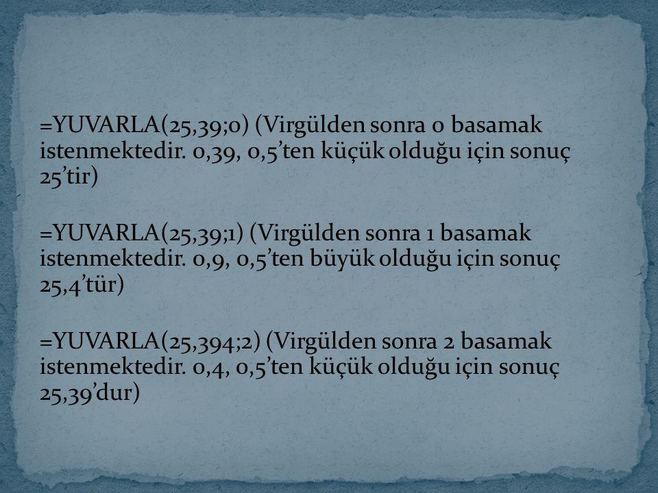 =YUVARLA(25,39;0) (Virgülden sonra 0 basamak istenmektedir. 0,39, 0,5'ten küçük olduğu için sonuç 25'tir) =YUVARLA(25,39;1) (Virgülden sonra 1 basamak