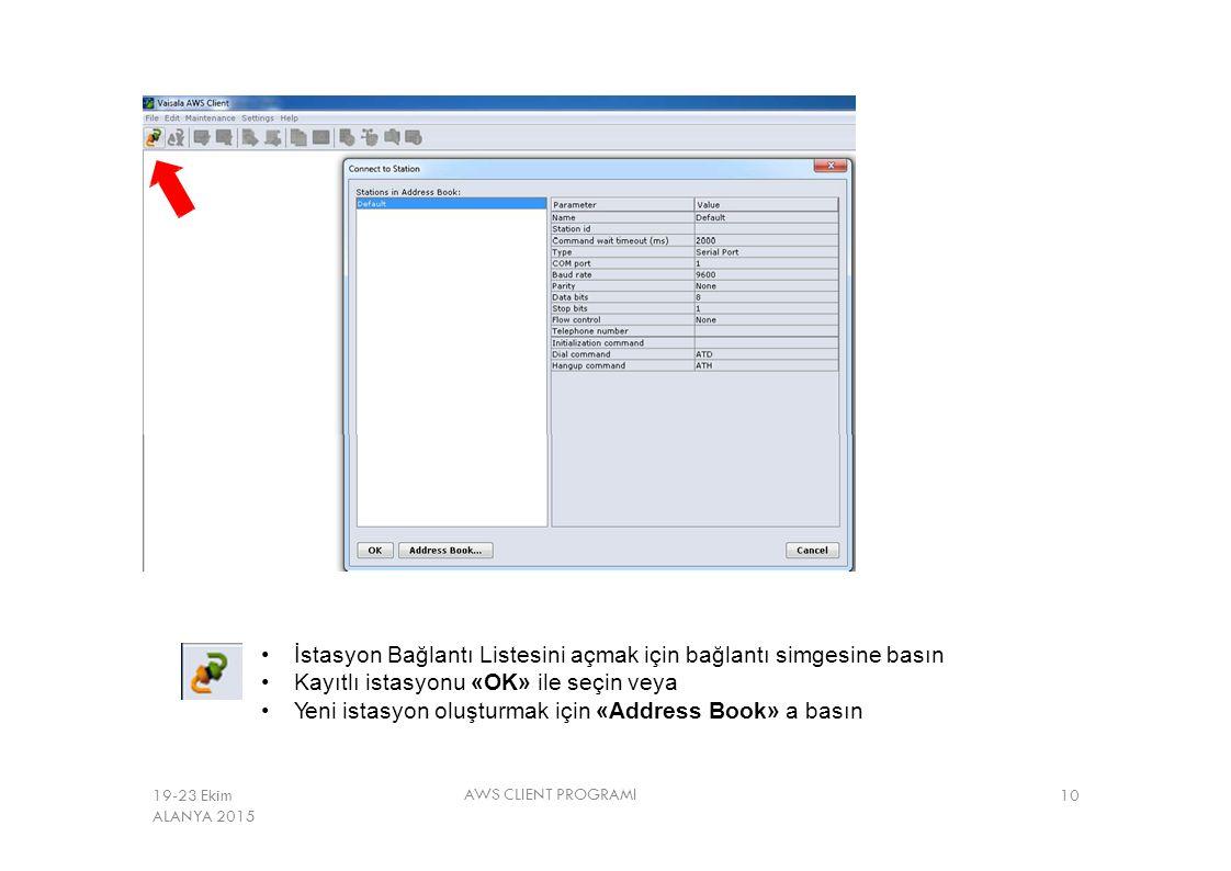 İstasyon Bağlantı Listesini açmak için bağlantı simgesine basın Kayıtlı istasyonu «OK» ile seçin veya Yeni istasyon oluşturmak için «Address Book» a b
