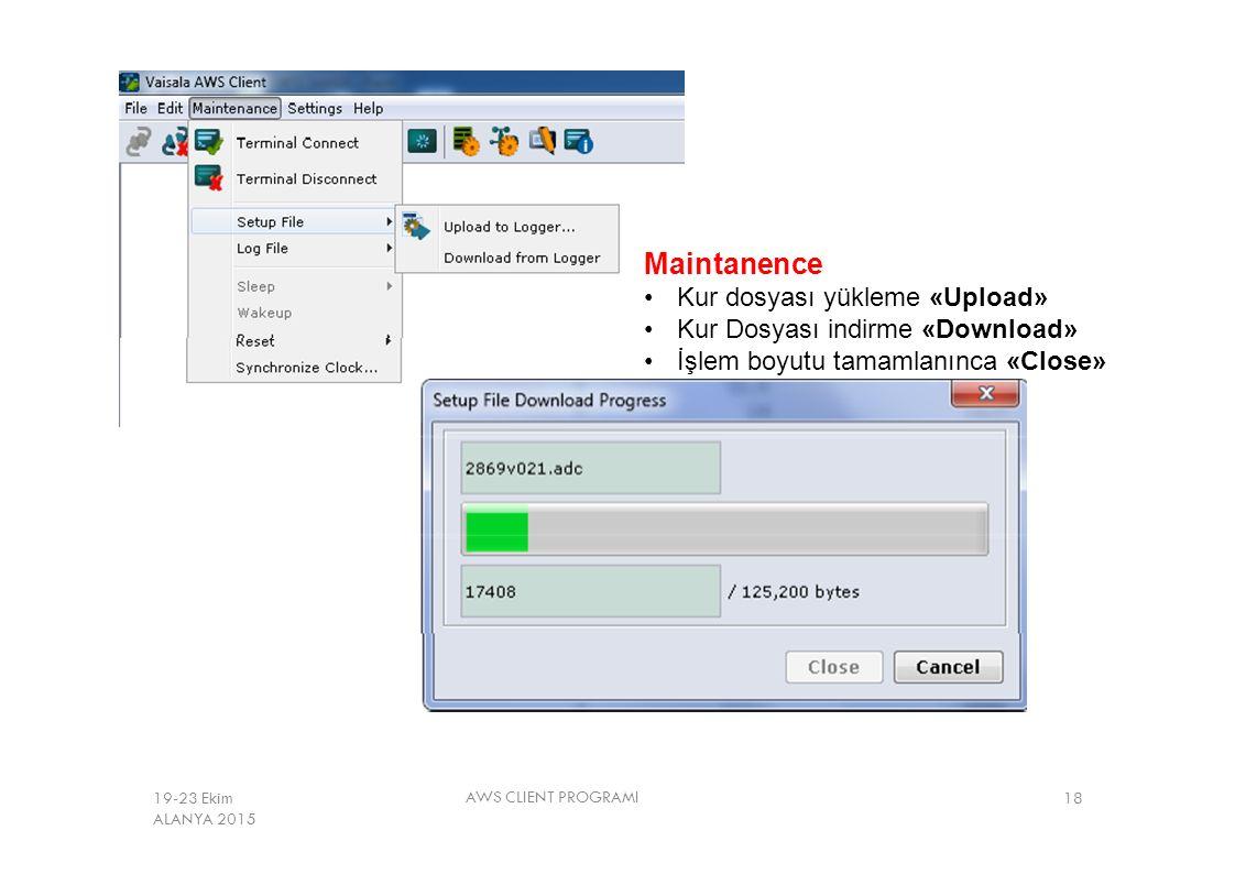 Maintanence Kur dosyası yükleme «Upload» Kur Dosyası indirme «Download» İşlem boyutu tamamlanınca «Close» AWS CLIENT PROGRAMI 1819-23 Ekim ALANYA 2015