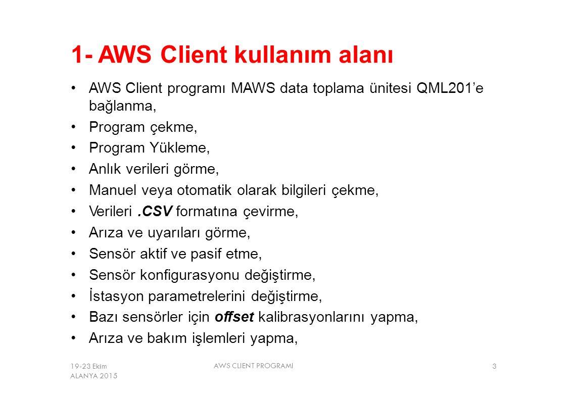 1- AWS Client kullanım alanı AWS Client programı MAWS data toplama ünitesi QML201'e bağlanma, Program çekme, Program Yükleme, Anlık verileri görme, Ma