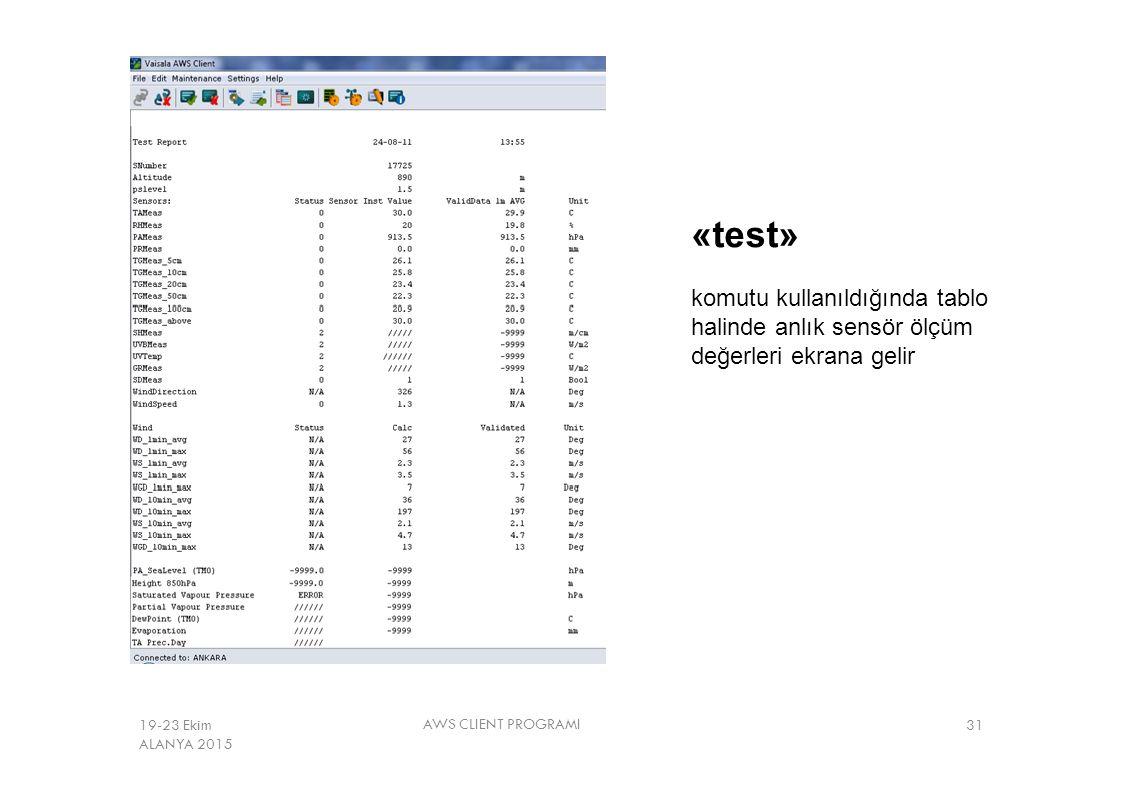 «test» komutu kullanıldığında tablo halinde anlık sensör ölçüm değerleri ekrana gelir AWS CLIENT PROGRAMI 3119-23 Ekim ALANYA 2015