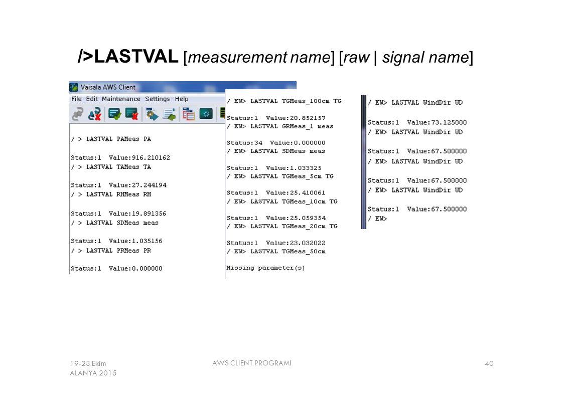/>LASTVAL [measurement name] [raw | signal name] AWS CLIENT PROGRAMI 4019-23 Ekim ALANYA 2015