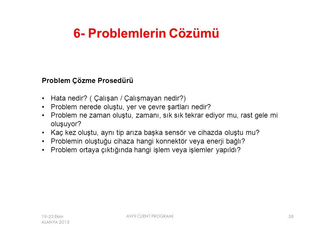 6- Problemlerin Çözümü Problem Çözme Prosedürü Hata nedir? ( Çalışan / Çalışmayan nedir?) Problem nerede oluştu, yer ve çevre şartları nedir? Problem