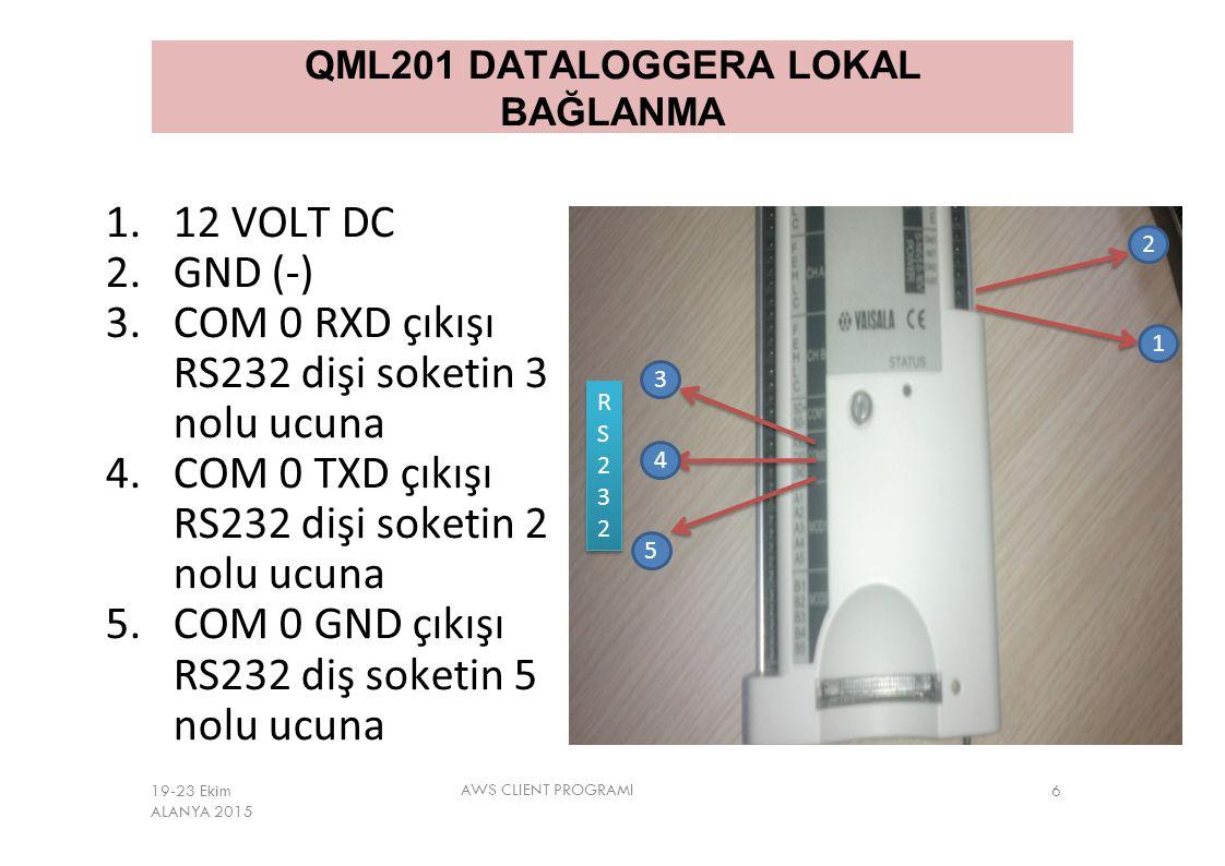 QML201 DATALOGGERA LOKAL BAĞLANMA 1.12 VOLT DC 2.GND (-) 3.COM 0 RXD çıkışı RS232 dişi soketin 3 nolu ucuna 4.COM 0 TXD çıkışı RS232 dişi soketin 2 no