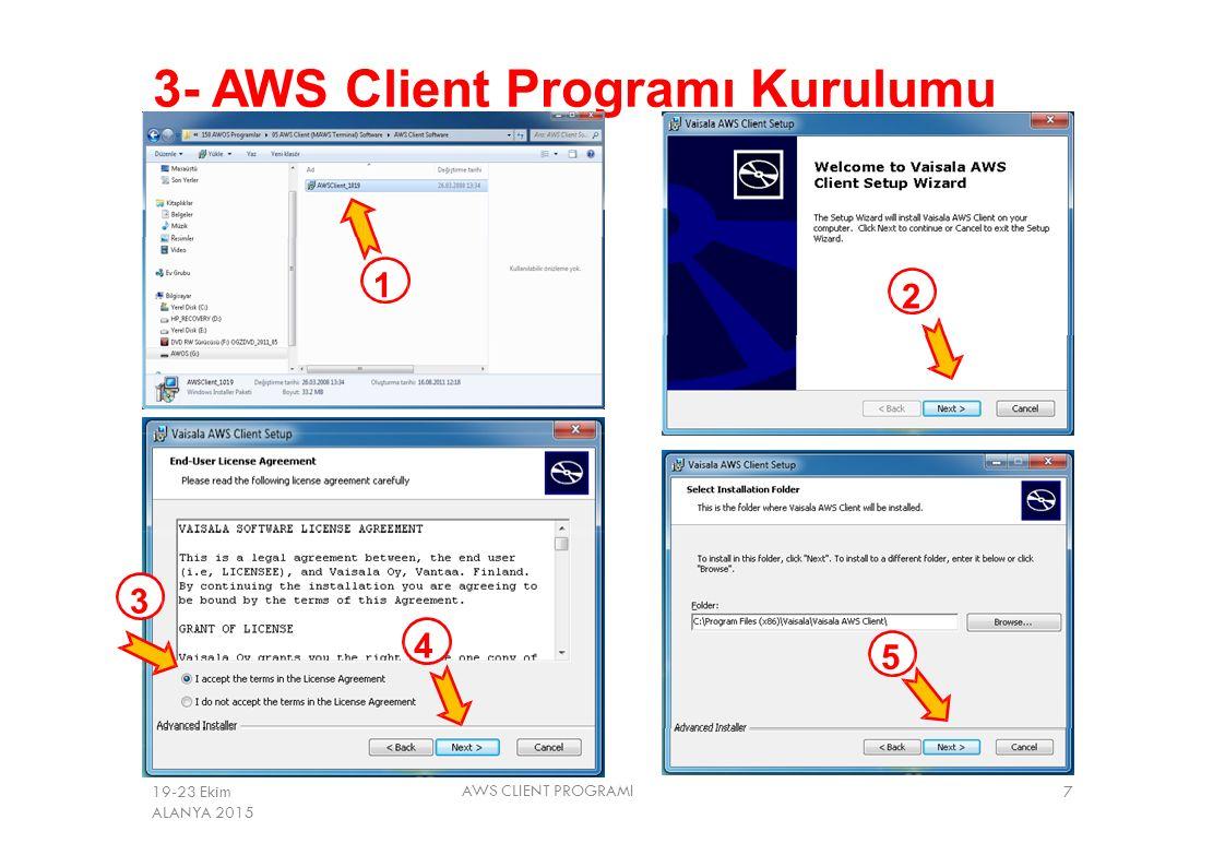 3- AWS Client Programı Kurulumu 1 2 3 4 5 AWS CLIENT PROGRAMI 719-23 Ekim ALANYA 2015