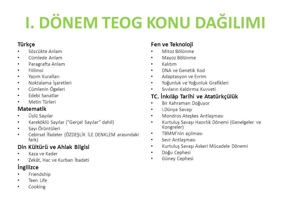 I. DÖNEM TEOG KONU DAĞILIMI Türkçe Sözcükte Anlam Cümlede Anlam Paragrafta Anlam Fiilimsi Yazım Kuralları Noktalama İşaretleri Cümlenin Ögeleri Edebi
