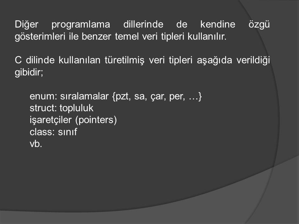 Diğer programlama dillerinde de kendine özgü gösterimleri ile benzer temel veri tipleri kullanılır. C dilinde kullanılan türetilmiş veri tipleri aşağı