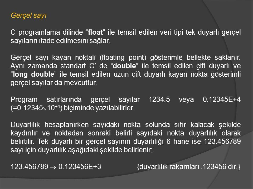"""Gerçel sayı C programlama dilinde """"float"""" ile temsil edilen veri tipi tek duyarlı gerçel sayıların ifade edilmesini sağlar. Gerçel sayı kayan noktalı"""