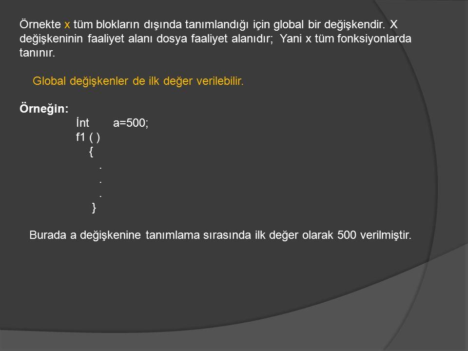 Örnekte x tüm blokların dışında tanımlandığı için global bir değişkendir. X değişkeninin faaliyet alanı dosya faaliyet alanıdır; Yani x tüm fonksiyonl
